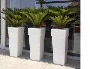 Vaso Esterno Grigio : Vaso arredo giardino esterno o interno quadrato bianco e vari colori