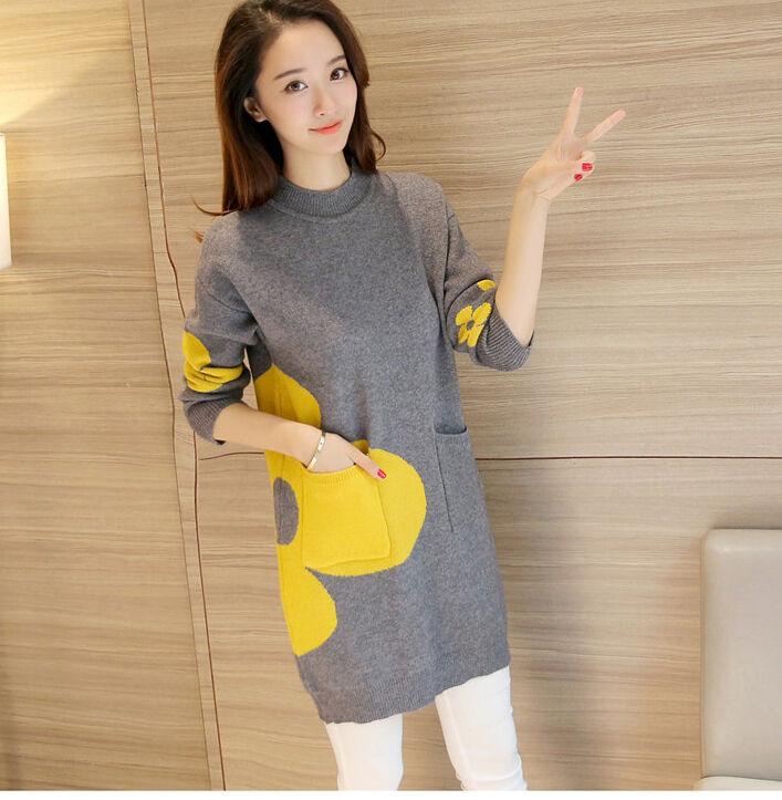 Winter Korean Fashion Temperament Flower Knitting Sweater Dress Coat Slim Ske15