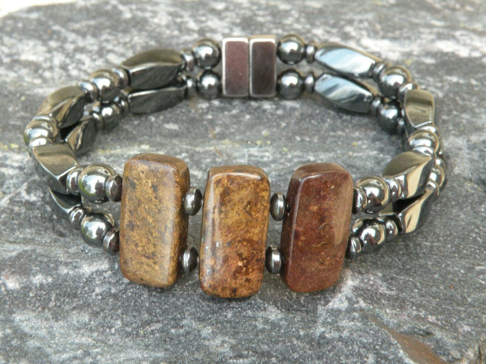 Magnetic Hematite Bracelet Anklet 3 Bronzite Gemstone 10x20mm Healing Stone