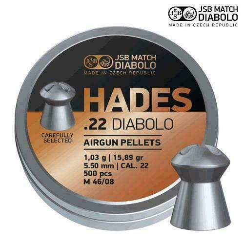 JSB Hades .22 CARABINA FUCILE PELLET PER AIR FUCILE LATTA COMPLETO DI 500 15.89gr