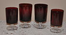 "Arcoroc Ruby Red  Glasses Luminarc Clear Footed Base France 5 1/8"" & 4 1/2"""