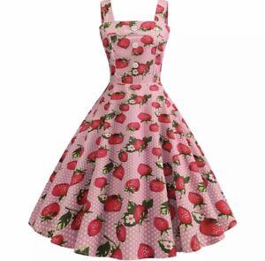 vintage strawberry pink print swing dancing dress pinup