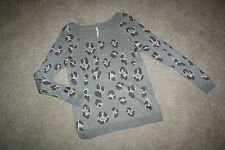 Anthropologie Willow & Clay Soft Gray Pink Pastel Leopard Animal Print Sweater