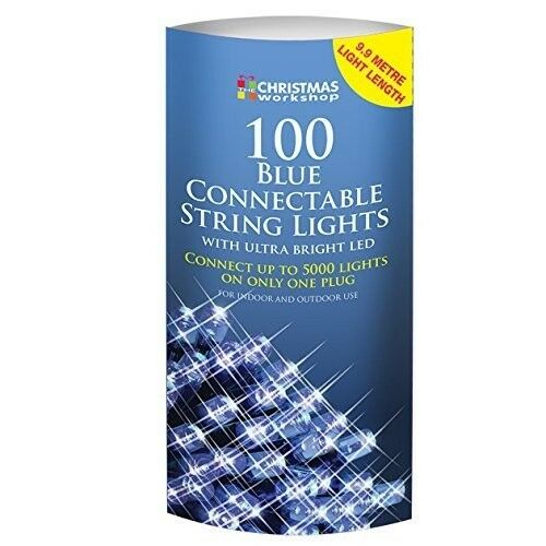 100 LED Connectable String Christmas Lights, Blue (Indoor or Outdoor use)