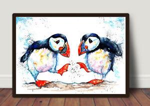 Puffins-034-Shall-we-Dance-034-Watercolour-Painting-Original-Art-Prints-Art-Card
