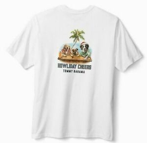 NEW-Tommy-Bahama-Men-039-s-Howliday-Cheers-DOG-Graphic-T-Shirt-White-Size-XXL-2XL