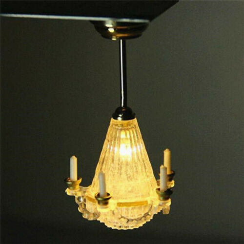 1:12 Dollhouse Miniature Room Chandelier Ceiling Light Lamp 5 Candles Battery