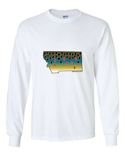 BROWN TROUT STATE SKIN T-Shirts fly fishing 6 COLORS Long /& Short Sleeve S-3XL
