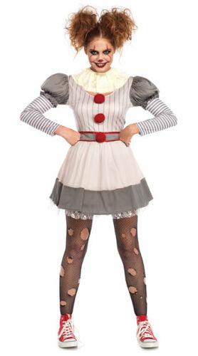 Ladies Sadistic Clown Costume Evil Killer Circus Halloween Fancy Dress Outfit MS