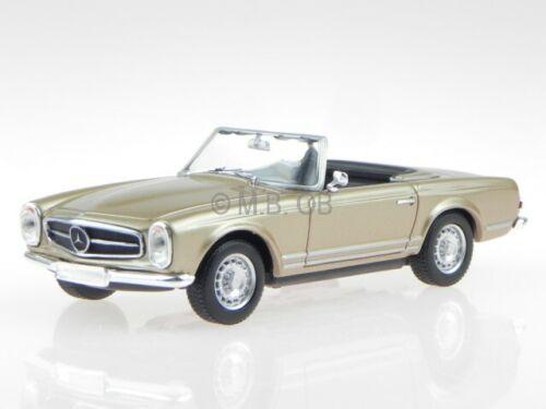 Mercedes R113 230 SL Pagode 1965 gold met modelcar Maxichamps 1:43