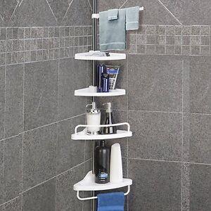 Image Is Loading Telescopic 4 Tier Adjule Shower Corner Bathroom Shelf