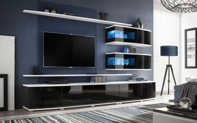 Spokane Entertainment Center Cabinet Living Room Modern Tv Wall Unit For Sale Online