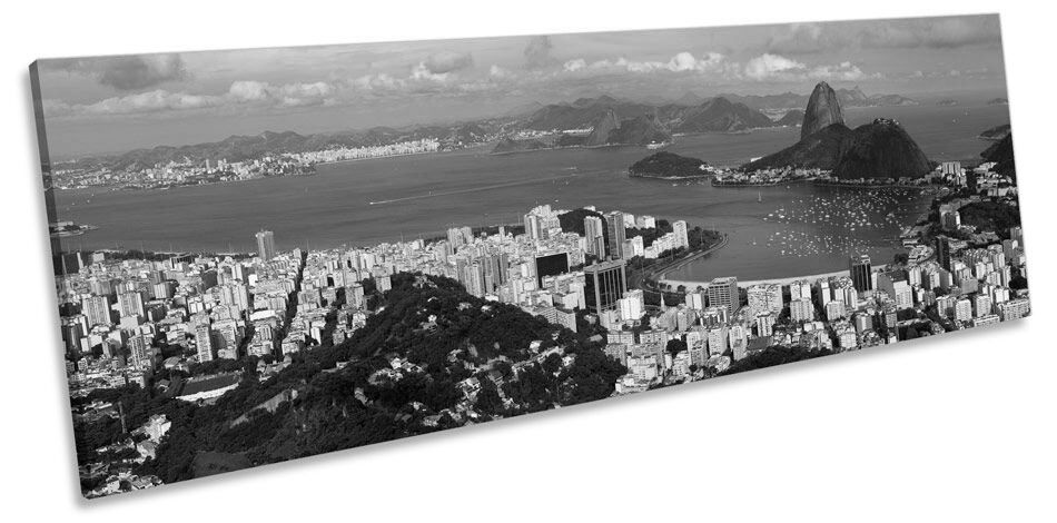Rio De Janerio B&W Panoramic CANVAS Wand Kunst Framed Drucken
