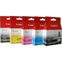 Canon PGI-5 CLI-8 CMYK Ink Cartridges Genuine Pixma iP4200 iP5200 iP5200R iP5300