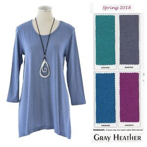 PRAIRIE-COTTON-USA-G759-GREY-HEATHER-TEE-TUNIC-Long-Top-S-M-L-XL-SPRING-2018