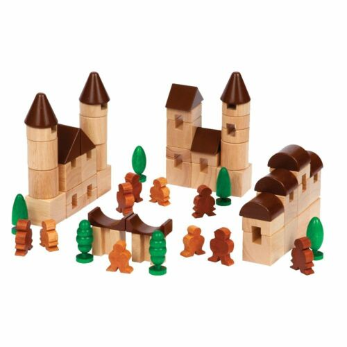 City Blocks 65 Piece Wooden Blocks Set by Guide Craft New in box