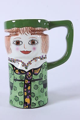'OPAL' Susan Paley Designed Ganz Tall Mug 16 Oz Green Lady Ceramic Cup No Lid