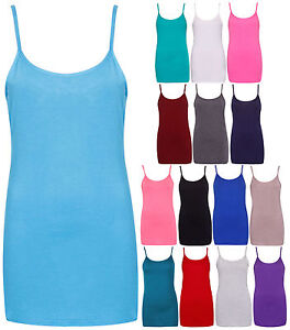 Womens-Plain-Sleeveless-Ladies-Stretch-Camisole-Strappy-Vest-Tank-Top-Plus-Size