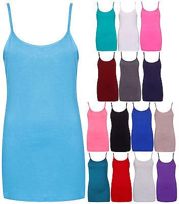 Womens Plain Sleeveless Ladies Stretch Camisole Strappy Vest Tank Top Plus Size