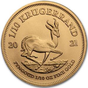 Goldmünze 1/10 oz Krügerrand 2021 Südafrika in Stempelglanz