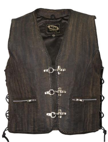 Rocker Bad Company-Leatherwear Club tonaca tasca a filetto cha cha Biker Gilet in Pelle