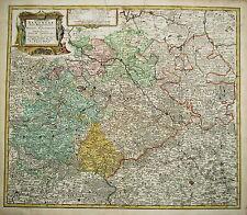 Leipzig Halle Zwickau Chemnitz Erfurt Dresden   Kupferstich Landkarte 1734