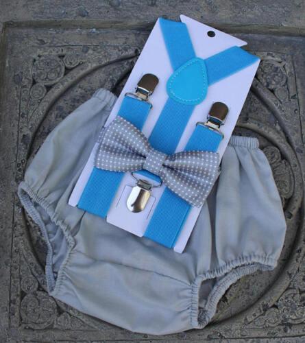 1st Birthday boy cake smash diaper cover bow tie boy clothes Gray blue