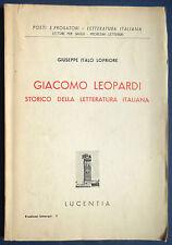[Letteratura] Giacomo Leopardi storico della letteratura italiana Recanati