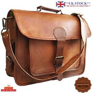15-Mens-Goat-Leather-Vintage-Brown-Messenger-Bag-Shoulder-Laptop-Bag-Briefcase