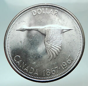1967-CANADA-CANADIAN-Confederation-Founding-with-Goose-Silver-Dollar-Coin-i82461