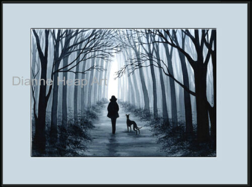 PRINT 6808 DIANNE HEAP GREYHOUND WHIPPET LURCHER DOG PAINTING DOGS TREES MAN