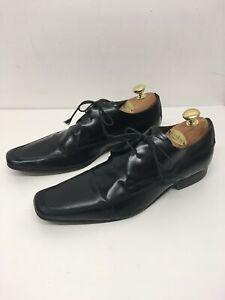 Herren-Russell-amp-Bromley-Schwarz-Leder-Zum-Schnueren-Smart-Formelle-Arbeit-Schuhe-UK-8-EU-42