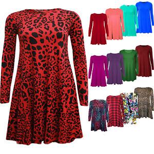 Women-039-s-Ladies-Plain-Long-Sleeve-Swing-Dress-Flared-Skater-Dress-Top-Size-8-26