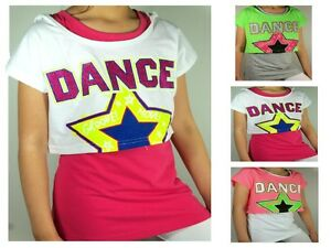 DANCE-2-in-1-Bluse-Tunika-T-Shirt-Top-Longshirt-Kapuze-Oberteil-Gr-128-170-NEU