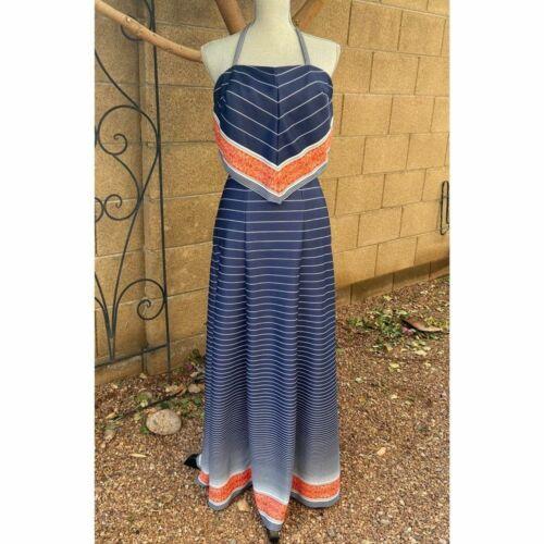 Vintage 70s Jack Hartley Halter Striped Maxi Dress