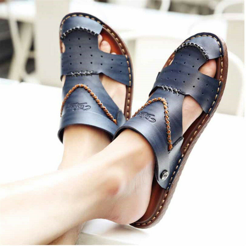 Mens Leather Closed Toe Sandals Casual Hand Sewing Sandal shoes Summer New Vogue