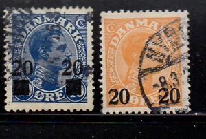 Denmark-Sc-176-77-1926-20-ore-overprints-stamp-set-used-Free-Shipping