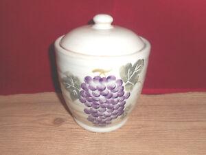 ceramic stoneware grape ivy jar kitchen canister 7 tall tan ebay rh ebay com