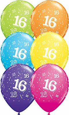 16th Birthday 1 Balloon 28cm Party Supplies Decorations Pink Purple Blue Yellow