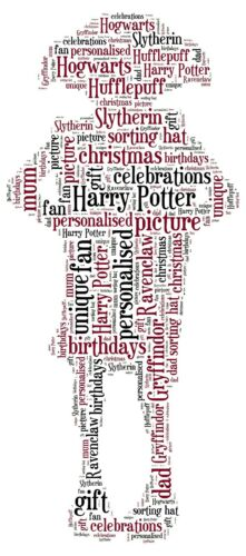 Harry Potter dobby wordart Unique gift Personalised dobby word cloud picture