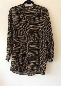 MARKS /& SPENCER //M/&S COLLECTION BROWN ANIMAL PRINT BLOUSE 8,10,12,14,16,18