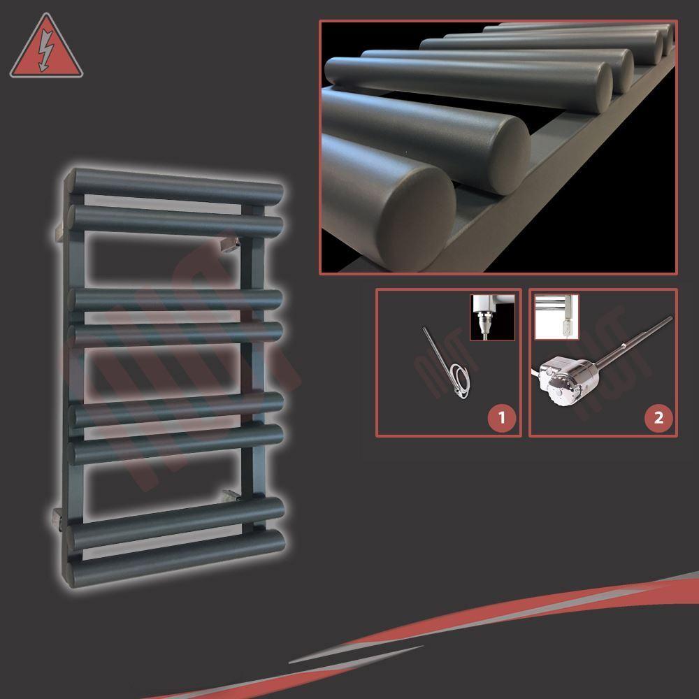 500mm (l) x 800mm (h) préremplie électrique  totem  anthracite porte-serviettes - 150 W