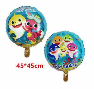 18-034-Baby-Shark-ROUND-Foil-Balloon-Bambini-Festa-Di-Compleanno-Decorazione-BIADESIVO