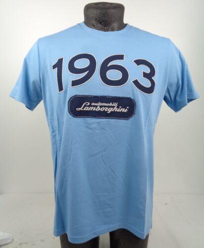 """GENUINE Lamborghini Automobili /""""1963/"""" Storm Blue Cotton T-Shirt M D2 LT36"""