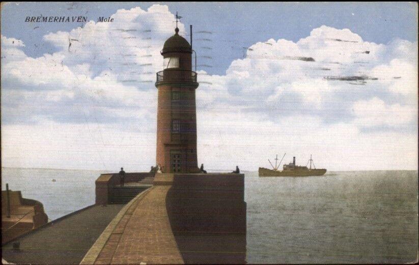 Bremerhaven Germany Mole Lighthouse & Ship c1910 Postcard