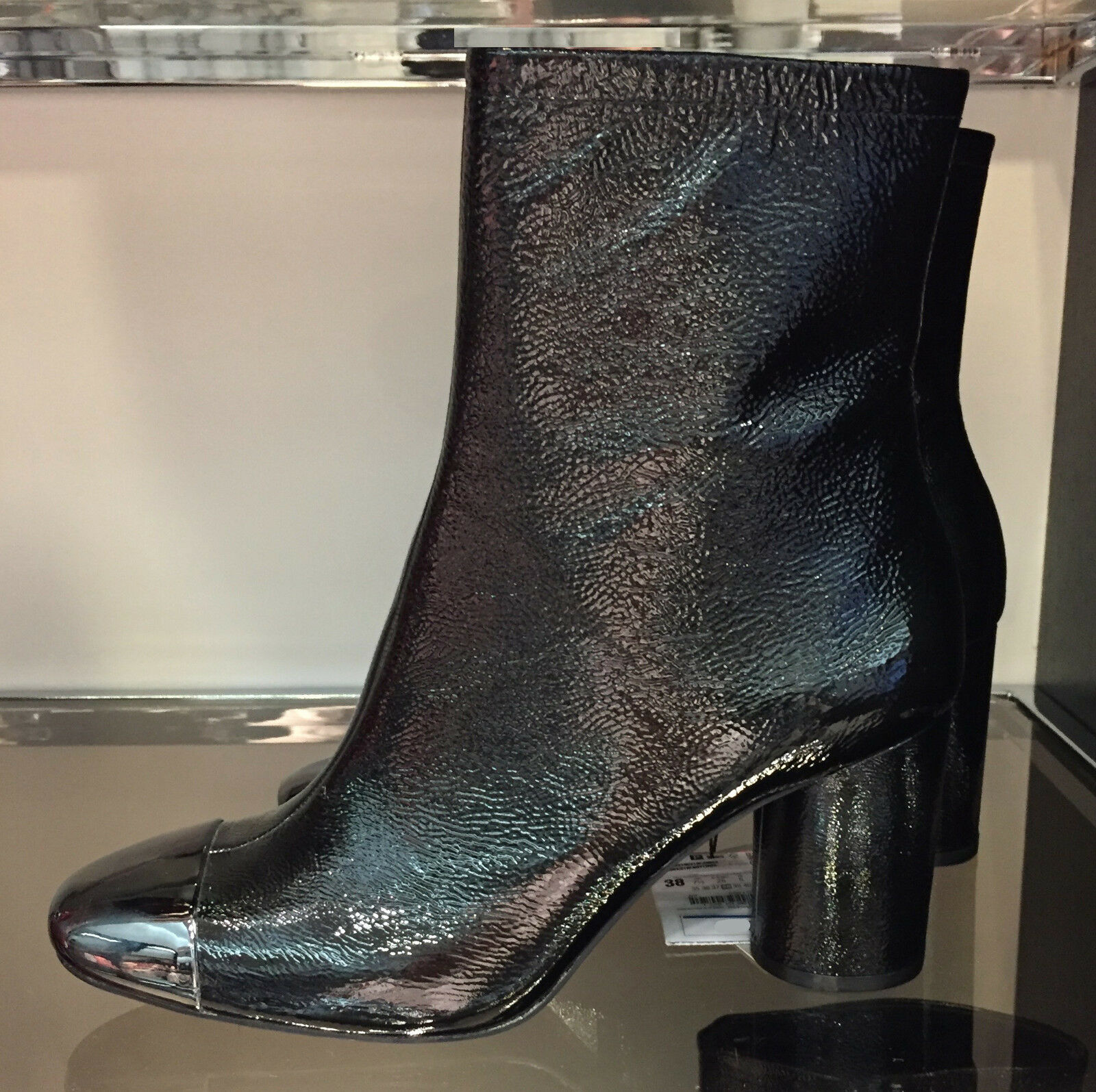 ZARA NEW HIGH HEEL LEATHER ANKLE BOOTS WITH METALLIC TOE BACK 36-41 5117/101