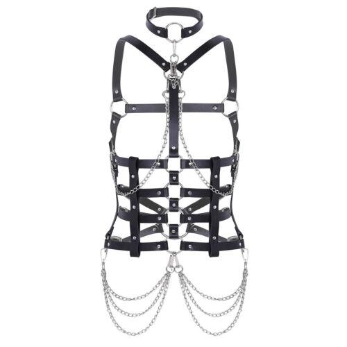 Women Body Leather Harness Waist Belt Punk Gothic Bras Bralette Top Chest Strap