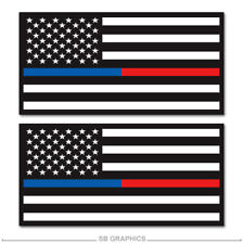 3.5x2 Patch Tattered Police Officer Thin Blue Line reflective US made