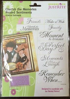 JustRite Cherish The Memories Nested Sentiments New* 8 Pcs