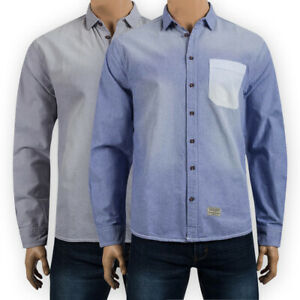 Mens-Cotton-Long-Sleeve-Stonewash-Oxford-Shirt-Regular-Chest-Pocket-Casual-Top